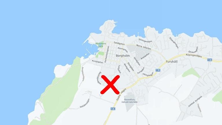 Karta över Borgholm med ett rött kryss utsatt.