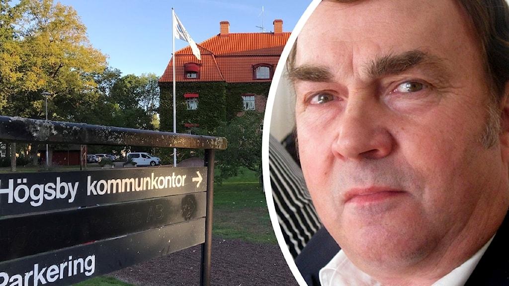 Till vänster kommunhuset i Högsby, till höger en närbild på Leif Gustavsson.