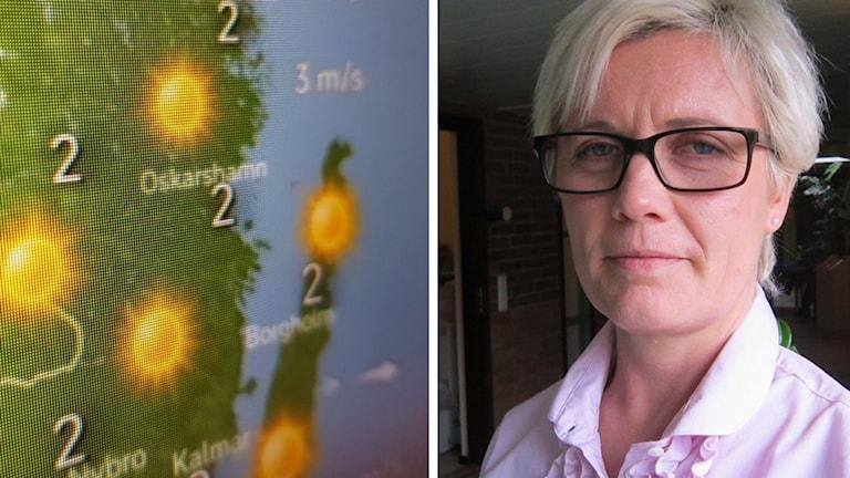Väderkarta och Carolina Leijonram.