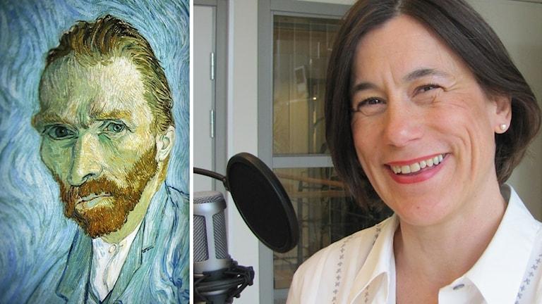 Slottschef Mimmi Mannheimer till höger i svart page. Ett självporträtt på Vincent van Gogh till vänster.