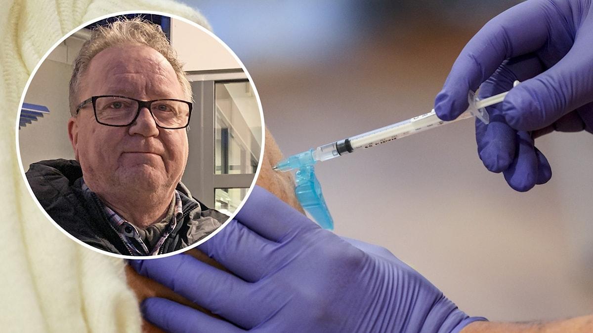 En vaccinspruta sätts i armen på en person. En inklippt närbild på en person syns också.