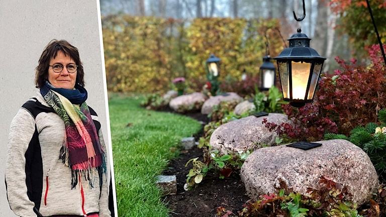 Till vänster en kvinna med färglad halsduk, till höger en grav med lykta.