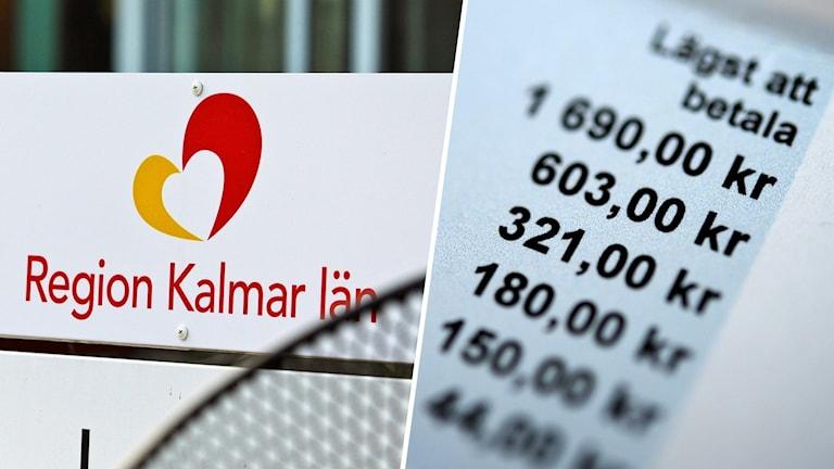 """En bild på en faktura och en skylt där det står """"Region Kalmar län""""."""