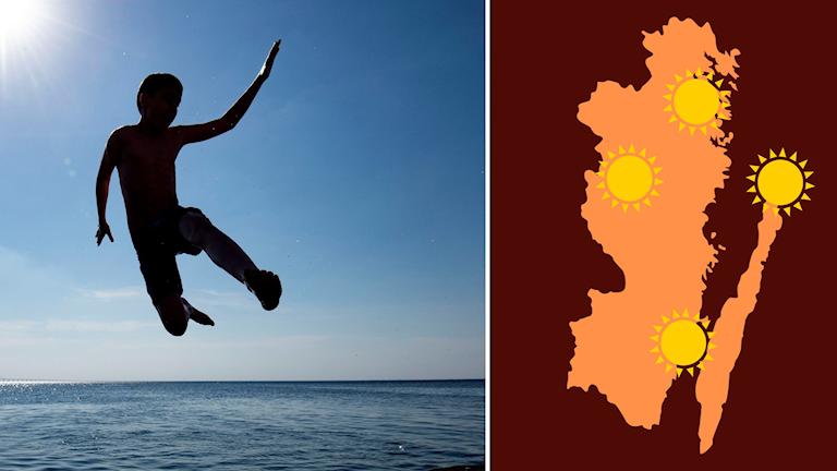 Person som hoppar i havet och karta över Kalmar län.