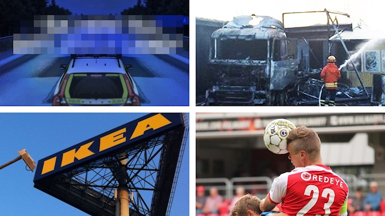 Polisbil, släckningsarbete, Ikea-skylt och fotbollsspelare.