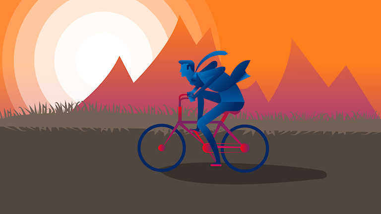 grafik över man som cyklar i solnedgång