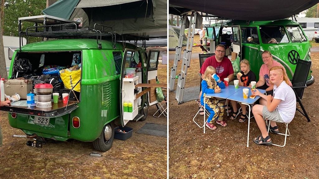 Grön minibuss med ett tält på taket.