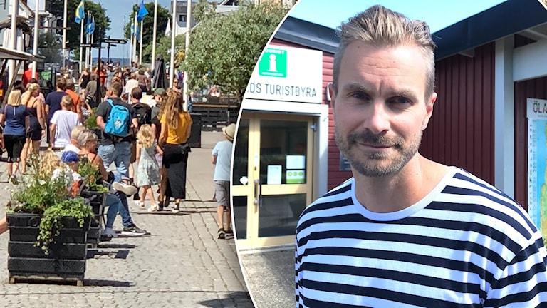 En bildsplit på en trång gata i Borgholm och en man.