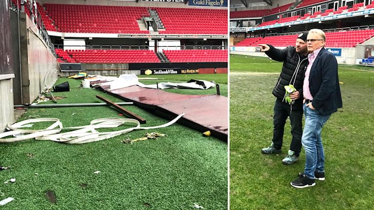 Skräp som finns på Guldfågeln Arena efter AIK:s guldmatch.