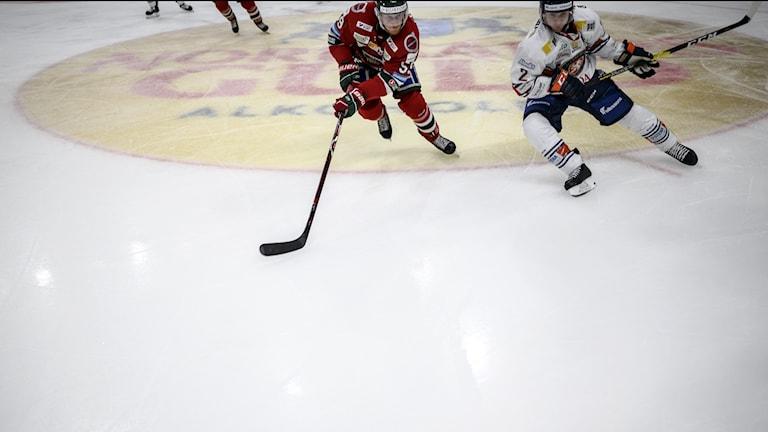 Två ishockeyspelare på isen.