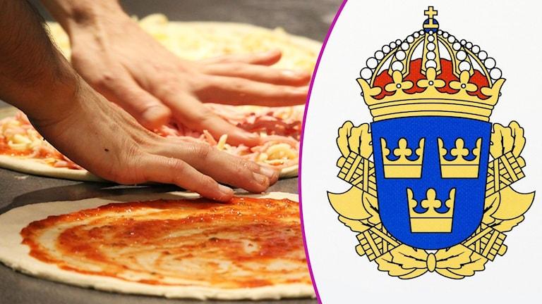 Montage med en pizza samt Lilla Riksvapnet.