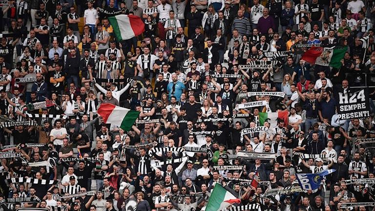 En läktare full med Juventusfans i svartvita kläder.