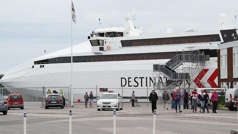 Gotlandsfärjan på väg in i Västerviks hamn