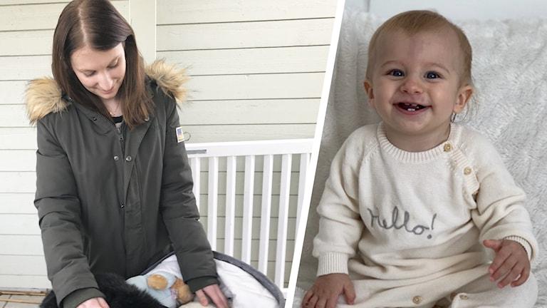 En kvinna står bredvid en barnvagn och en bild på en bebis.