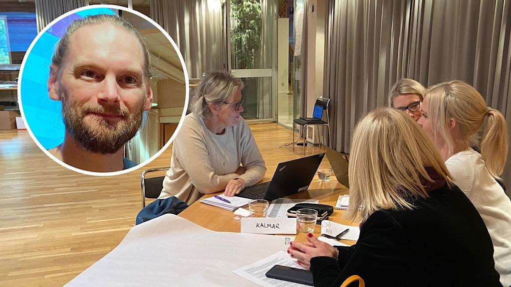 Bild på man inklippt i en bild där fyra kvinnor diskuterar kring ett bord.