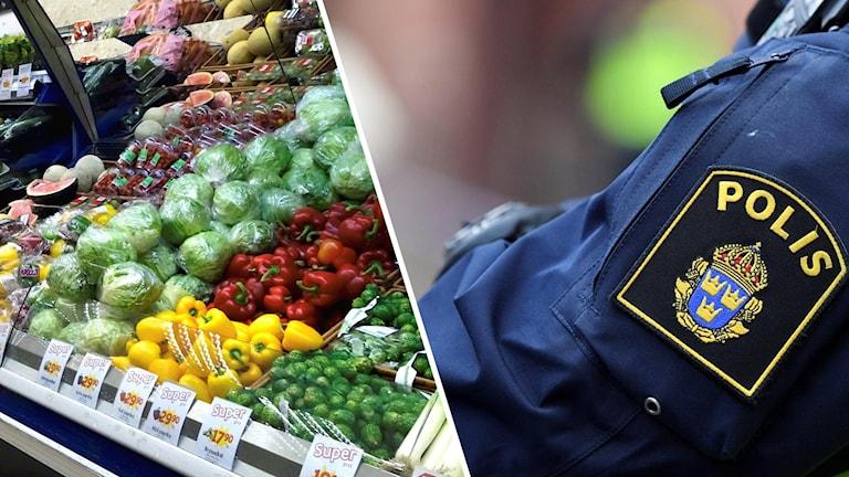 Frukt i en fruktdisk och en bild på en polis-logga.