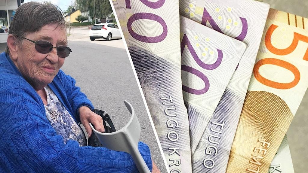 Gull-Britt Sjöström och kontanter.