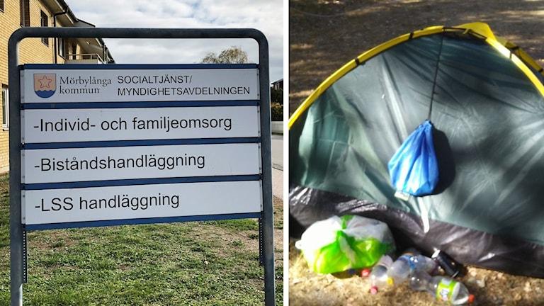 Bild på skylten till socialtjänsten i Mörbylånga och bredvid en bild på ett tält.