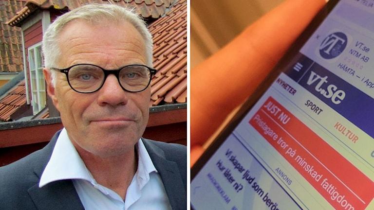 Lennart Foss och en mobil som besöker Västerviks-tidningens sajt.