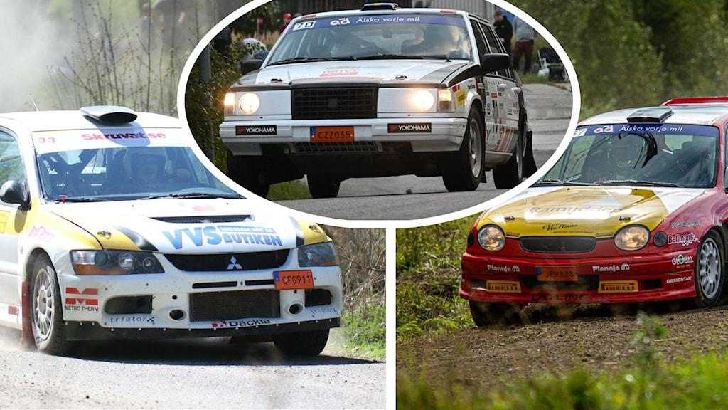 Tre bilder på rallybilar.