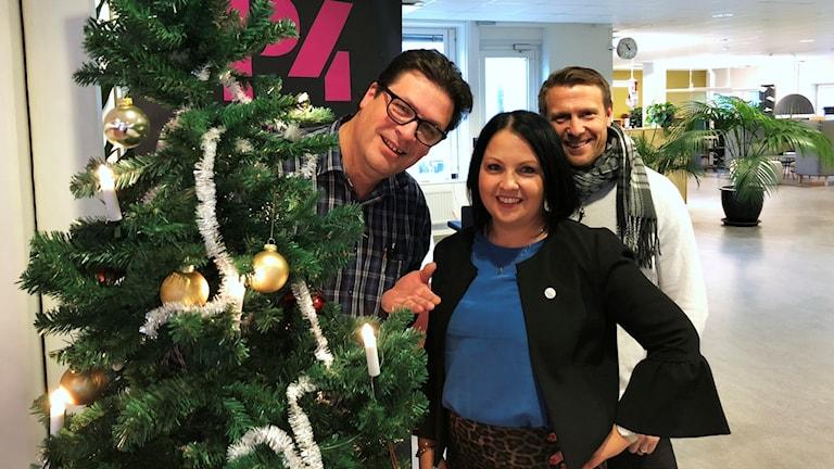 Magnus Krusell, Malin Gruvhagen och Lucas Nilsson står intill en julgran.