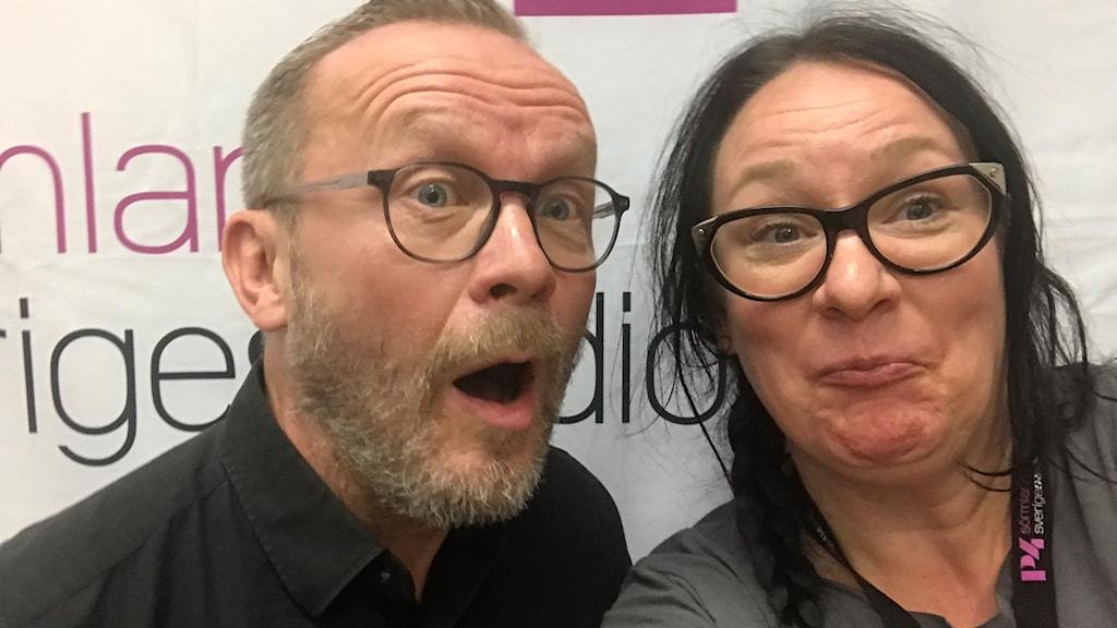 Musikern, producenten och konstnären Heikki Kiviaho från Eskilstuna och programledaren Johanna Iggsten.