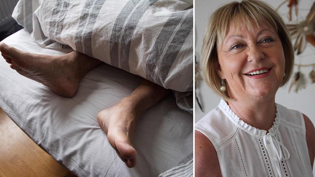 Glad kvinna tillsammans med sovande fötter.