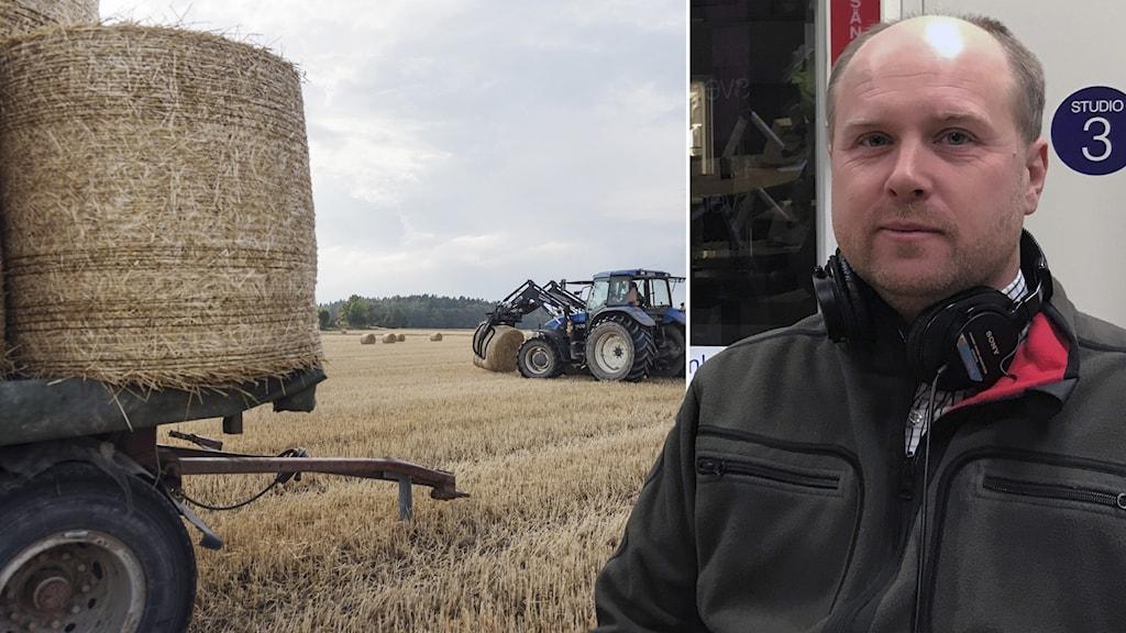 En traktor på en åker i ett bildmontage med en bild på Johan Lagerholm från LRF Sörmland.