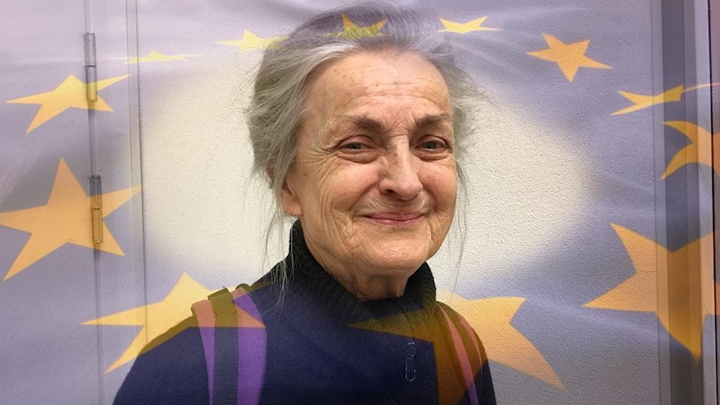 Kvinna med EU-flagga