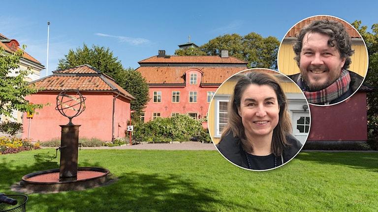 Westerlingska gården i Nyköping.  Maria Karlsson, näringslivschef Nyköpings kommun, Fredrik Åström, grundare av Svenska Kulturpärlor, inklippta.