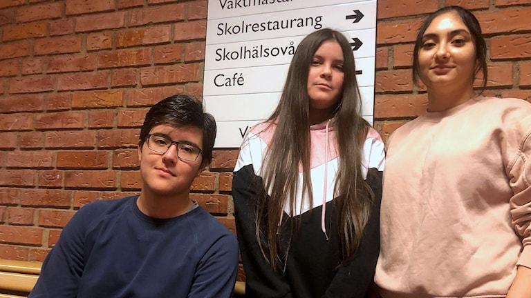 Niondeklassarna Robin Insel, Vanessa Molina och Jana Ramadan går på Årbyskolan i Eskilstuna.