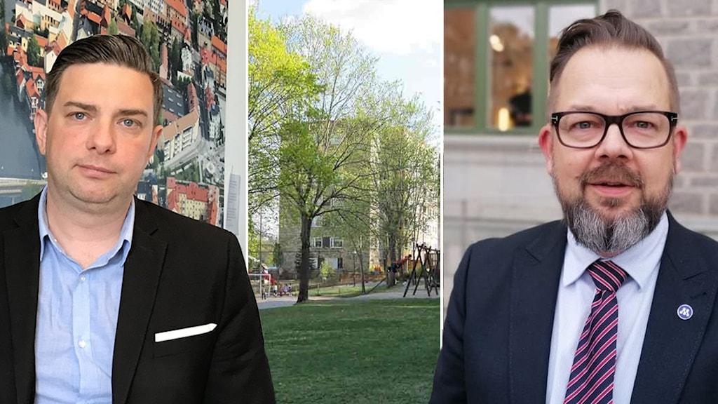 två politiker i ett fotomontage med en bild på ett hyreshus och en lekpark.