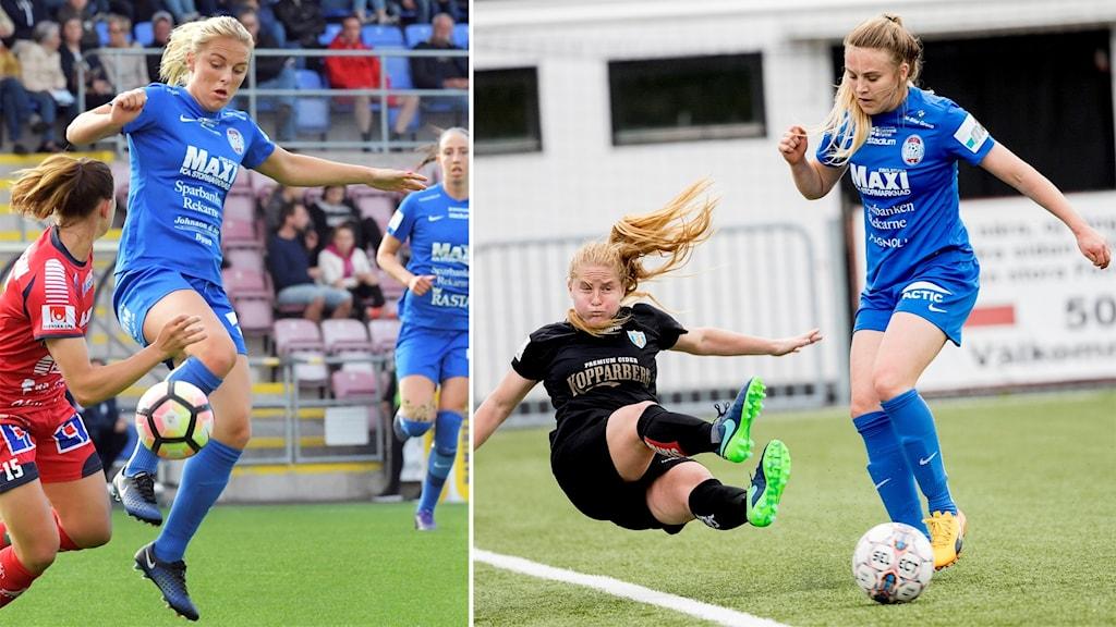 Mimmi Larsson och Fiona Brown sparkar boll.