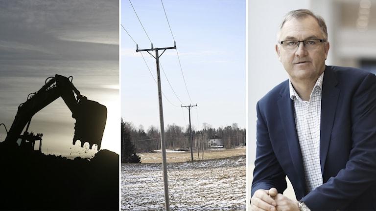 Mats Engstedt, enhetschef på Vattenfall eldistribution, inklippt vid sidan av grävskopa och luftburen elledning.