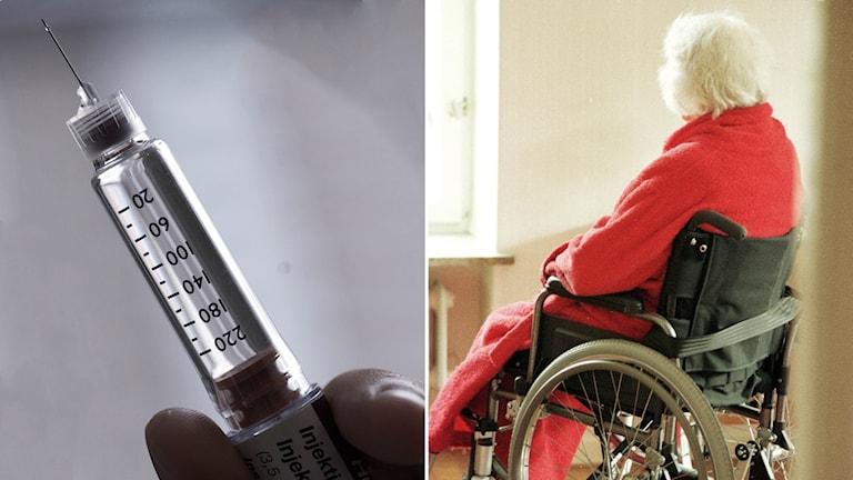 Gammal kvinna i rullstol.