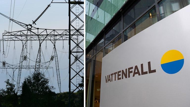 En kraftledning och en bild på Vattenfalls logotype.