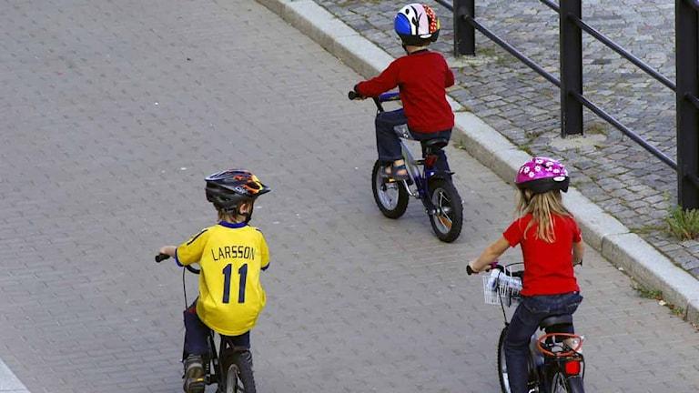 Barn cyklar. Foto: Hasse Holmberg/Scanpix