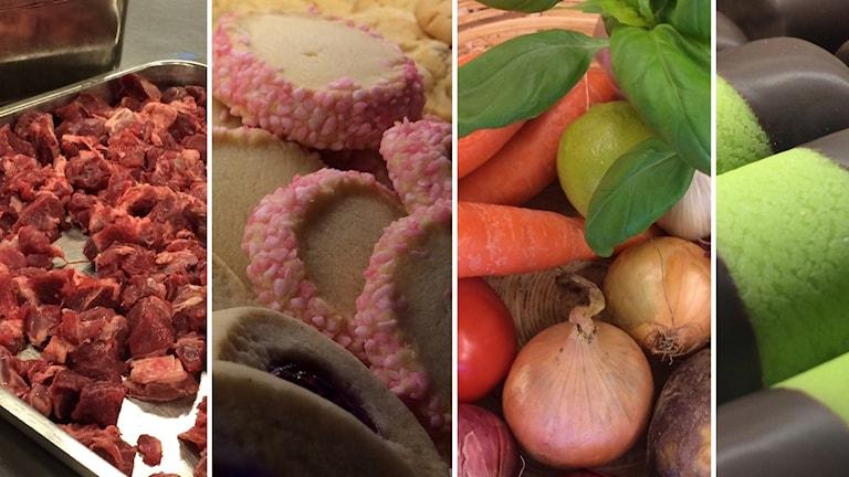 Mat. Grönsaker, kött, kondisbitar, bakelser.
