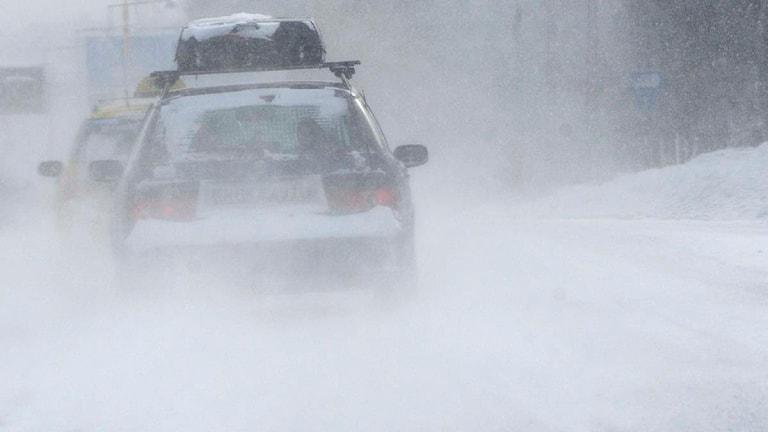 En bil med takbox kör på vägen under ett kraftigt snöande. Foto: Johan Nilsson/Scanpix.