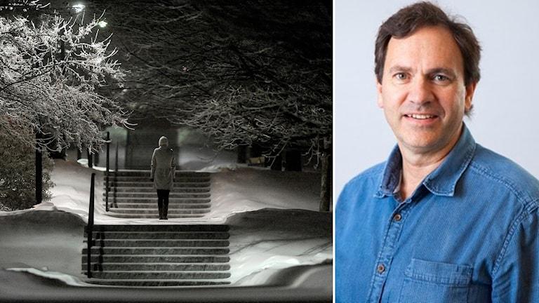Ensam kvinna i vintermörker. Arne Lowden på annan bild till höger.