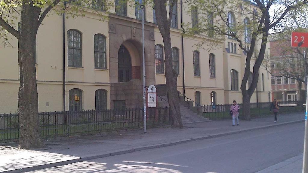 En gull, äldre byggnad i sten med tre träd framför vid en gata. Foto: Fredrik Blomberg/Sveriges Radio