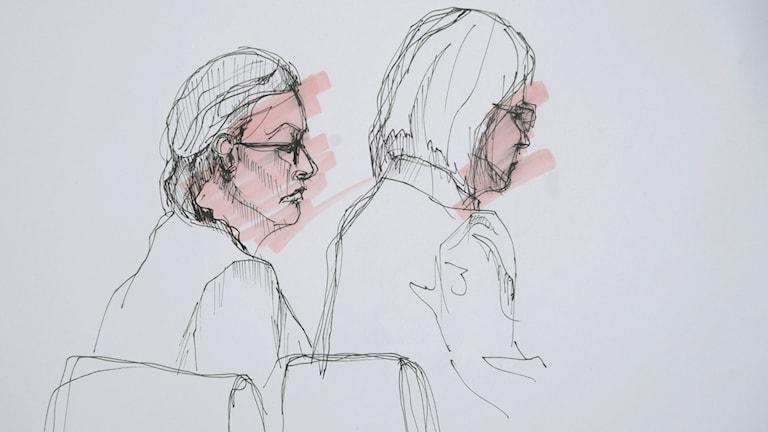 Tecknad bild av 42-åringen och hennes advokat.
