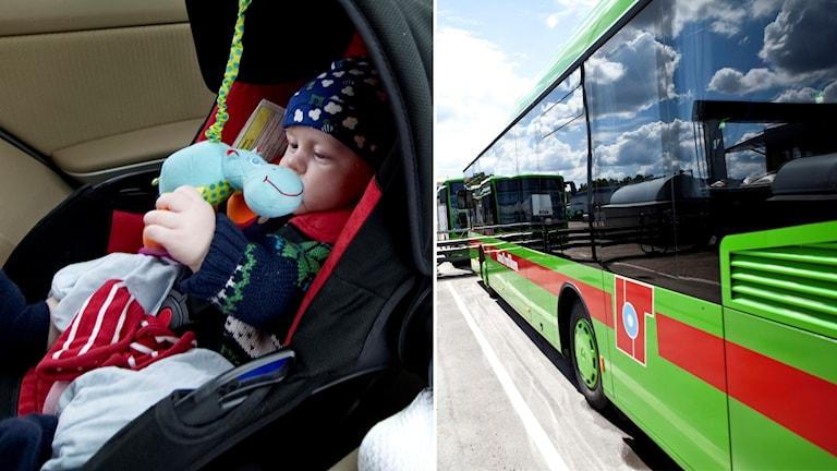 Barn i bakvänt säte, vid buss.