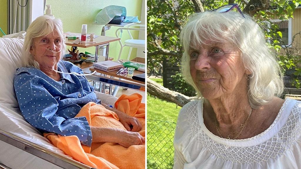 Två bilder på Gunilla Kryss, en där hon ligger i en sjukhussäng och en där hon står utomhus.