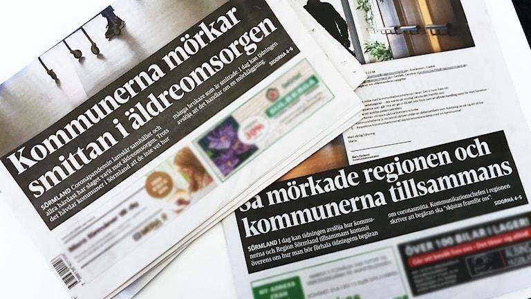 """Eskilstuna-kurirens löp. """"Kommunerna mörkar smittan i äldreomsorgen"""" och """"Så mörkade regionen och kommunerna tillsammans."""""""