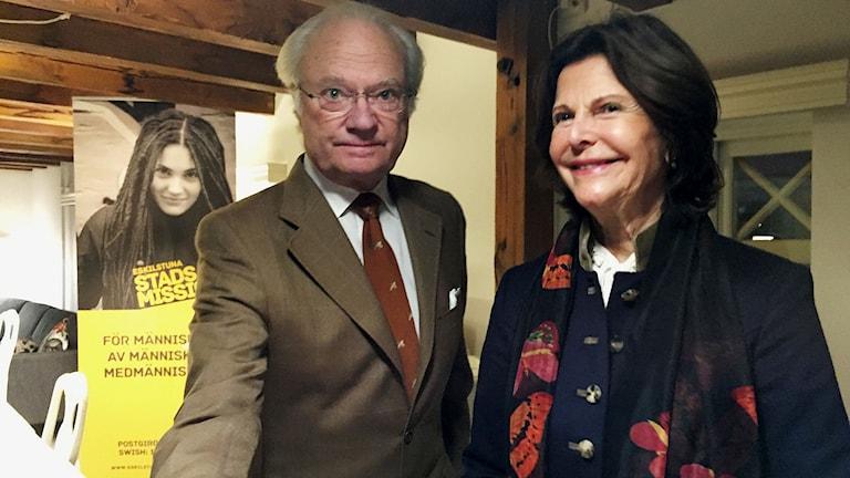 Kung Carl XVI Gustaf och drottning Silvia på Eskilstunabesök.