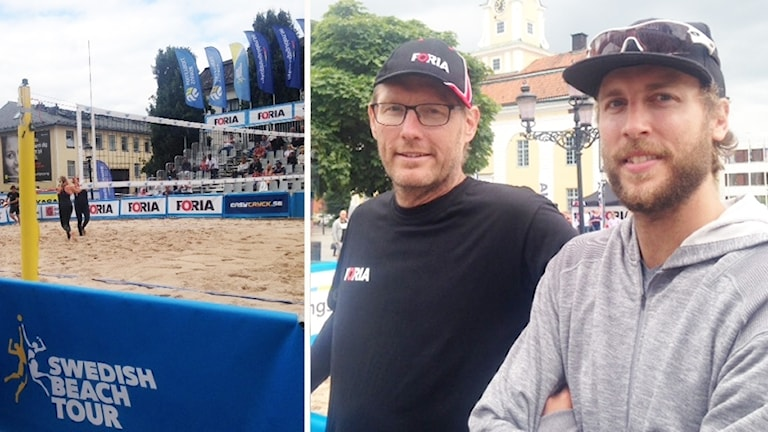 Peter och Linus Tholse står vid volleybollplanen på torget i Nyköping