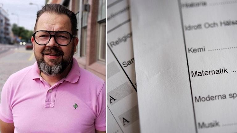 Porträttbild på moderaternas gruppledare Jari Puustinen i Eskilstuna, inklippt vid sidan av betyg på papper.