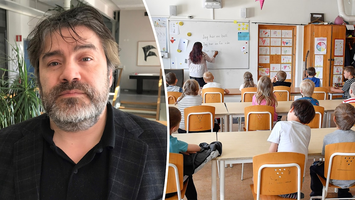 man ihopklippt med barn på skola