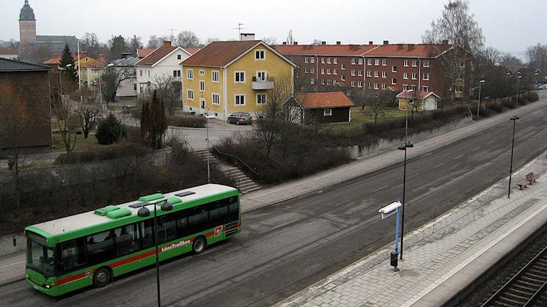 Vy över området som är ett av alternativen för Strängnäs nya resecentrum. Foto: Michael Berwick/Sverige Radio.